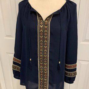 Chico's Navy Tunic with Embroidered ribbon detail
